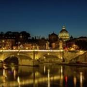 River Tiber And Vatican At Night Poster