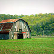 Riverbottom Barn In Spring Poster