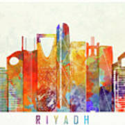 Riyadh Landmarks Watercolor Poster Poster