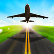 Road And Plane Poster