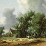 Road In The Dunes With A Passenger Coach After The Rain1631 Poster