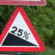 Road Sign Warning Of A 25 Percent Incline. Poster