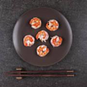 Roasted Shrimps Served On Plate Poster