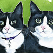 Robin And Batcat - Twin Tuxedo Cat Painting Poster