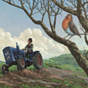 Robin In Field Looking At Farmer Poster by Martin Davey