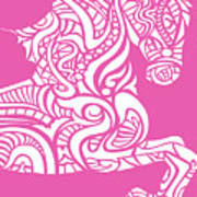 Rocinante Horse - White On Pink Poster