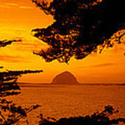 Rock In A Lake At Dusk, Morro Rock Poster