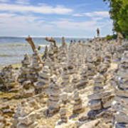 Rock Structures On Lake Michigan Poster