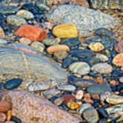 Rocks Of Many Colors On Lake Superior Shoreline In Pictured Rocks National  Poster