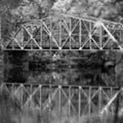 Rocks Village Bridge In Black And White Poster