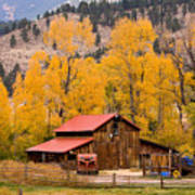 Rocky Mountain Autumn Ranch Landscape Poster