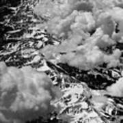 Rocky Mountains In Colorado With Snow Aerial Black And White Poster