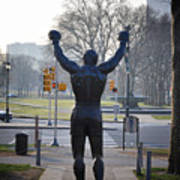 Rocky Statue From The Back Poster