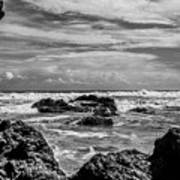 Rocky Waters In Bw Poster