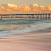 Rodanthe Fishing Pier Sunset On The Outer Banks In Carolina Panorama Poster