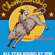 Rodeo Cowboy Riding  A Bull Bucking Poster by Aloysius Patrimonio