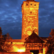 Rodertor At Twilight In Rothenburg Poster
