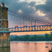 Roebling Suspension Bridge - Cincinnati, Ohio Poster