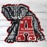 Roll Tide Alabama Crimson Tide Recycled State License Plate Art Poster