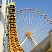 Roller Coaster And Ferris Wheel Poster