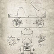 Roller Skate Patent - Patent Drawing For The 1882 F. A. Combes Roller Skate Poster