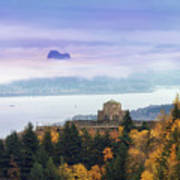 Rolling Fog At Columbia River Gorge In Fall Poster