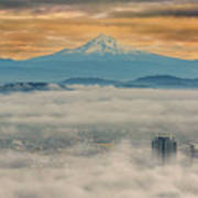 Rolling Low Fog Over City Of Portland Poster