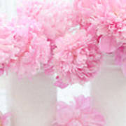 Shabby Chic Pastel Pink Peonies - Pink Peonies In White Mason Jars Poster