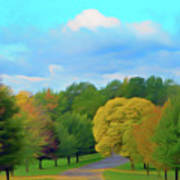 Romantic Skies Autumn Road Poster