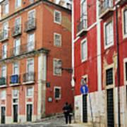 Romantic Walking At Old Lisbon Poster
