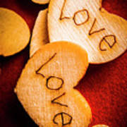 Romantic Wooden Hearts Poster