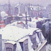 Roofs Under Snow Poster by Gustave Caillebotte