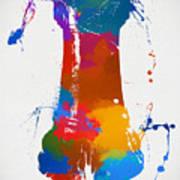 Rook Chess Piece Paint Splatter Poster
