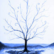 Roots Of A Tree In Blue Poster