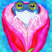 Rose City Rain Frog Poster
