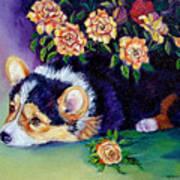 Roses - Pembroke Welsh Corgi Poster