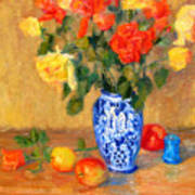 Roses In A Mexican Vase Poster