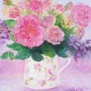 Roses In A Pink Floral Jug Poster