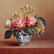 Roses In China Vase Poster