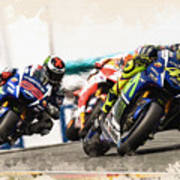 Rossi Leading The Pack Poster