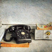 Rotary Dial Phone In Black S And H Stamps Poster