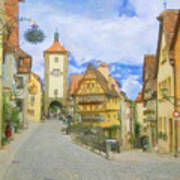 Rothenburg Watercolor Study Poster