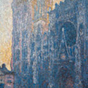 Rouen Cathedral, The Portal, Morning Poster