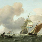 Rough Sea With Ships Poster