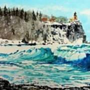 Rough Water At Split Rock Poster
