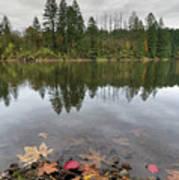 Round Lake At Lacamas Park In Fall Poster