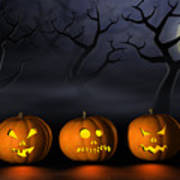 Row Of Halloween Pumpkins In A Spooky Forest At Night Poster