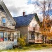 Row Of Houses Hardwick Vermont Watercolor Poster
