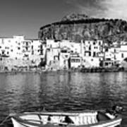 Rowboat Along An Idyllic Sicilian Village. Poster