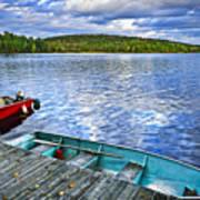 Rowboats On Lake At Dusk Poster by Elena Elisseeva